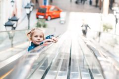 Little girl walks on Walkway Stock Images