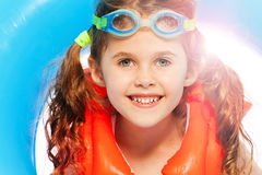 Little girl wants to swim at sunny day Royalty Free Stock Images