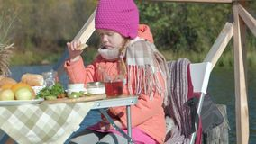 A little girl in warm clothes, eating pancakes, drinking tea, a dog playing nearby, a picnic by the river on a wooden stock video