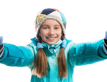 Little girl in warm clothes Stock Photo