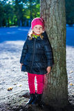 Little girl in warm clothes in park Royalty Free Stock Images