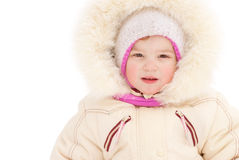 Little girl in warm coat with hood Stock Photography