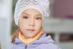 Little girl in warm jacket Stock Image