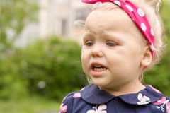 Little girl was crying. Royalty Free Stock Image
