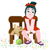 Little girl was tired. Scalable vector illustration in cartoon style Royalty Free Stock Photos