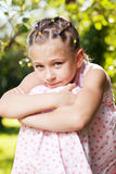 Little girl was wondering about something Royalty Free Stock Photography