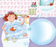 The little girl washes with his duck in the bath tub gives Relax Stock Image