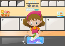 Little girl washing dishes in kitchen royalty free illustration