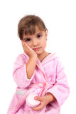 Little girl washing hand and face Royalty Free Stock Photography