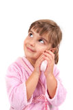 Little girl washing hand and face Royalty Free Stock Images