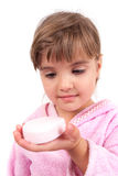 Little girl washing hand and face Stock Photos