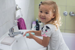 Little girl washing hands Royalty Free Stock Images