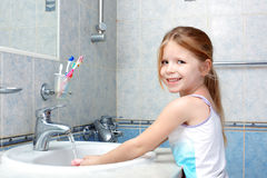 Little girl washing with soap Royalty Free Stock Image