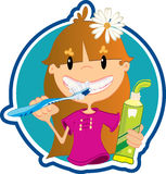 Little girl washing teeth Stock Photo
