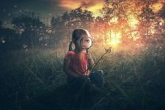 Little girl watching butterflies royalty free stock photo