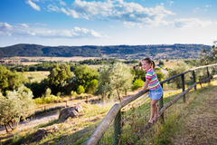 Little girl watching landscape in Italy Royalty Free Stock Image