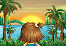 A little girl watching the sunset at the riverbank stock illustration