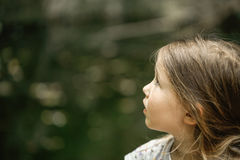 Little girl watching trees, skies and birds in awe stock photography
