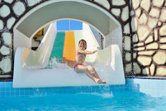 The little girl on water attractions Royalty Free Stock Image