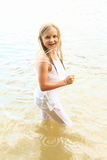 Little girl in water Royalty Free Stock Images