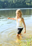 Little girl in water Royalty Free Stock Image