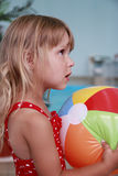 Little girl in the water pool Stock Image