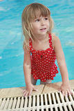 Little girl in the water pool Royalty Free Stock Photo