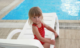 Little girl in water pool Royalty Free Stock Image