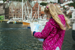Little girl on the waterfront in Bergen Stock Photography