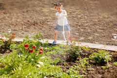 Little girl watering flowers in the garden Royalty Free Stock Photo