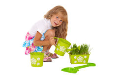 Little girl watering grass Royalty Free Stock Images