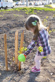 Little girl watering newly planted tree. A child helps in greening the city a new Park between the road and Parking beautiful russian girl