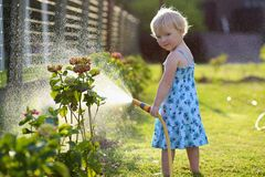 Little girl watering plants in the garden Stock Photos