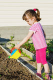 Little girl watering plants from a watering can Royalty Free Stock Photos