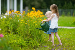 Little girl watering pretty yellow flowers Royalty Free Stock Photos