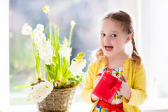 Little girl watering spring flowers Stock Photos