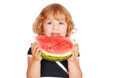 Little girl with watermelon. Beauty little girl with watermelon Stock Photos