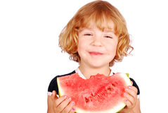 Little girl with watermelon. Happy little girl with watermelon Royalty Free Stock Photo