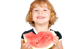 Little girl with watermelon. Beauty little girl with watermelon Stock Image
