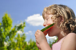 Little girl in watermelon. Outdoors Stock Photography