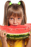 Little girl with watermelon. Little girl eating slice of watermelon on white background Royalty Free Stock Photos