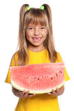 Little girl with watermelon. Little girl with slice of watermelon isolated on white background Royalty Free Stock Photos