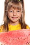 Little girl with watermelon Stock Images