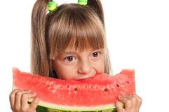 Little girl with watermelon. Little girl eating slice of watermelon isolated on white background Stock Photography