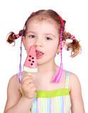 Little girl with watermelon ice cream Royalty Free Stock Photo