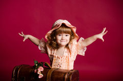 Little girl waving hands Royalty Free Stock Photo