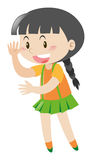Little girl waving hello. Illustration Royalty Free Stock Photography