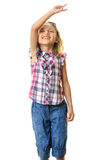 Little girl waving listening music Royalty Free Stock Image