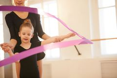 Little Girl Waving Ribbon royalty free stock photos