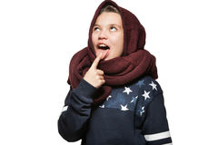 Little girl wear red knit scarf on her head Royalty Free Stock Images